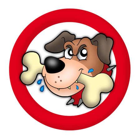 perro furioso: C�rculo rojo con el perro enojado - color ilustraci�n.