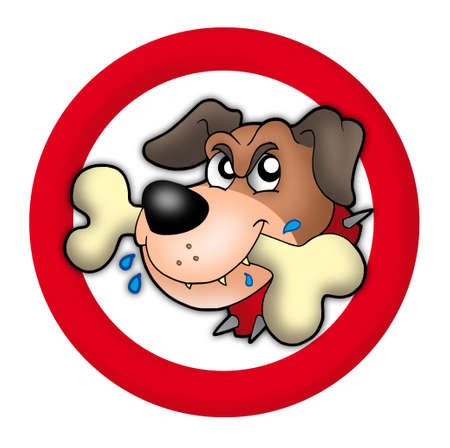 angry look: Red circle with angry dog - color illustration. Stock Photo