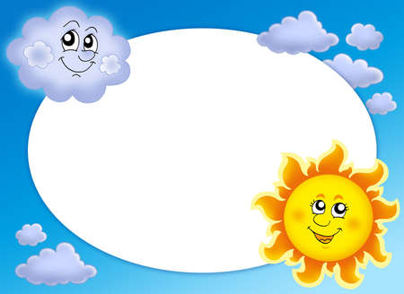Round frame with Sun and cloud - color illustration.
