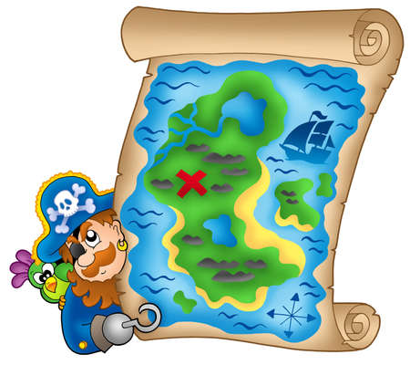 lurking: Treasure map with lurking pirate - color illustration.