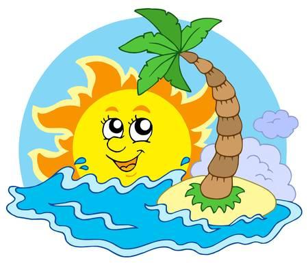 Beach and Sun - vector illustration. Vector