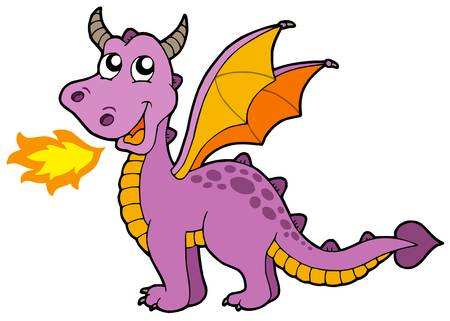 mosca caricatura: Cute pequeño dragón - ilustración vectorial.