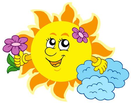 sol caricatura: Cute Sol con flor - ilustraci�n vectorial. Vectores