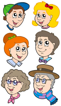 Family faces collection - vector illustration. Stock Vector - 5078841