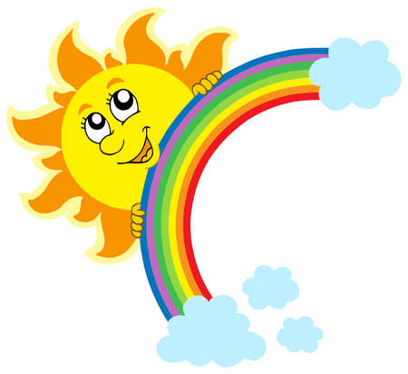 Lurking Sun with rainbow - vector illustration. Vector
