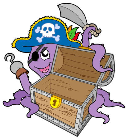 empty keyhole: Pirate octopus with chest - vector illustration. Illustration
