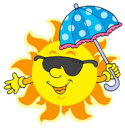 Sun in sunglasses with umbrella - vector illustration. Vector