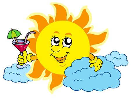 Sun with drink - vector illustration. Vector