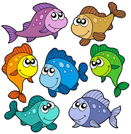 Various cute fishes collection - vector illustration. Vector