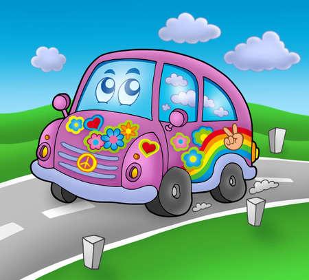 Hippie car on road - color illustration. Stock Illustration - 5078824