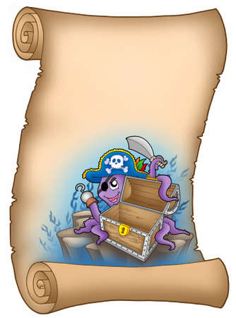 eyepatch: Parchment with pirate octopus - color illustration. Stock Photo