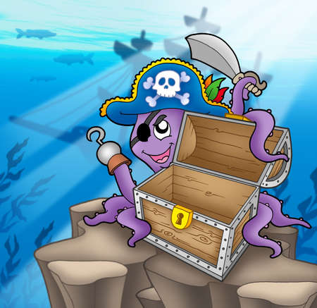 Pirate octopus with chest in sea - color illustration. illustration