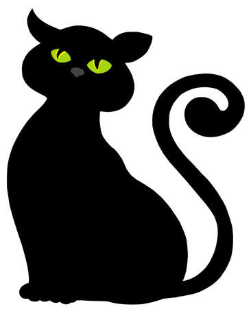 long tail: Cat silhouette on white background - vector illustration.