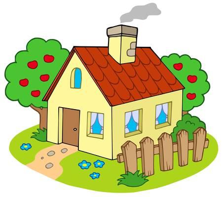 case colorate: Casa con giardino - illustrazione vettoriale.