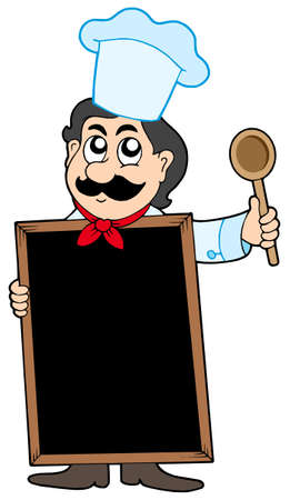 Chef holding blackboard - vector illustration.
