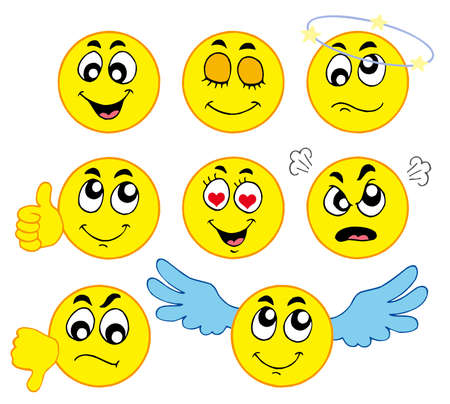 las emociones: Smileys Varios 1 sobre fondo blanco - ilustraci�n vectorial. Vectores