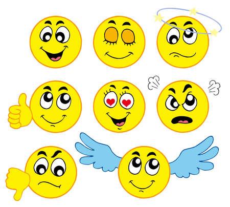emozioni: Vari smiley 1 su sfondo bianco - illustrazione vettoriale. Vettoriali