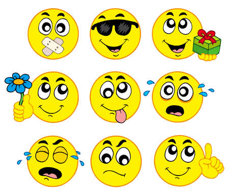 Various smileys 2 on white background - vector illustration. Vector