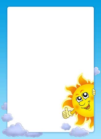 lurk: Frame with cartoon lurking Sun - color illustration.