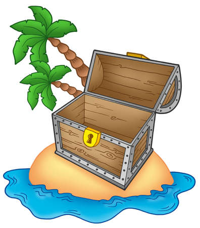 empty keyhole: Pirate island with open chest - color illustration.
