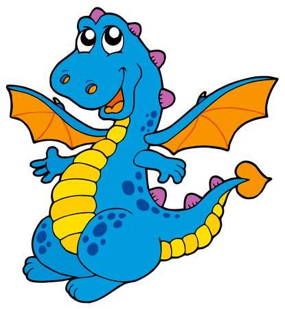 Cute blue dragon - vector illustration. Illustration