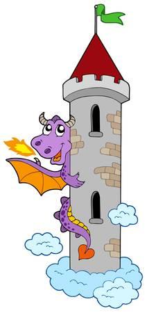 lurk: Agguato drago castello con torre - illustrazione vettoriale.
