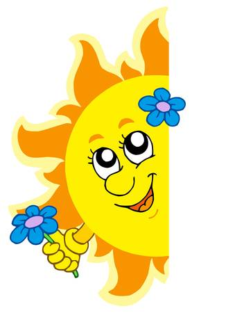 lurking: Lurking Sun with flower - vector illustration.
