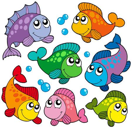 fin swimming: Various cute fishes collection 2 - vector illustratiob. Illustration