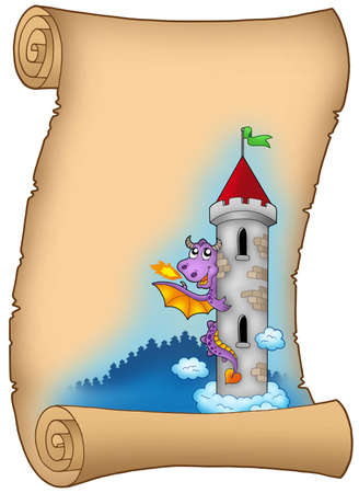 castle cartoon: Old scroll with dragon - color illustration. Stock Photo