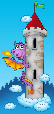 Purple dragon on castle tower - color illustration.