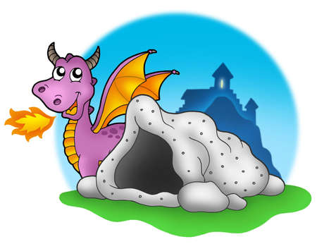 Purple dragon with cave - color illustration. illustration