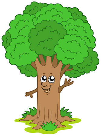 big smile: Cartoon tree character - vector illustration.