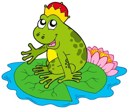 fairytale character: Frog prince on water lily - vector illustration. Illustration