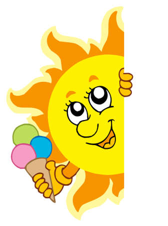 Lurking Sun with icecream - vector illustration. Vector