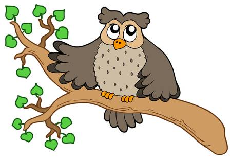 Owl on branch - vector illustration. Stock Vector - 5151546