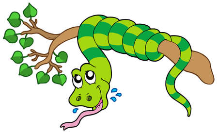 animal tongue: Snake on leafy branch - vector illustration. Illustration