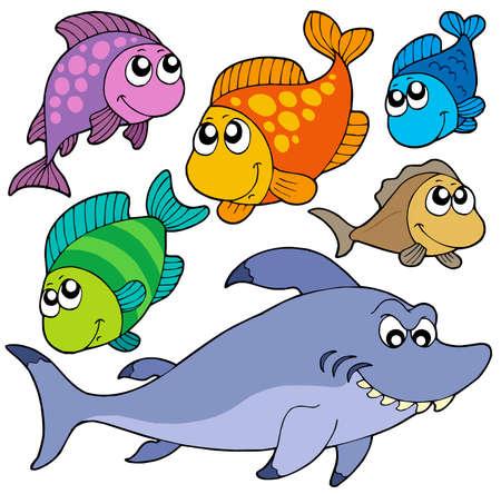 peces de agua salada: Varios peces colecci�n de dibujos animados - ilustraci�n vectorial.