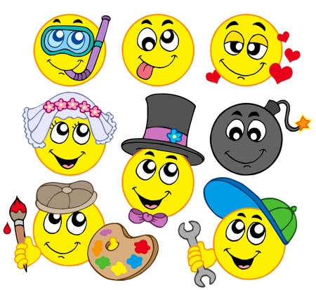 smileys: Various smileys 5 on white background - vector illustration. Illustration