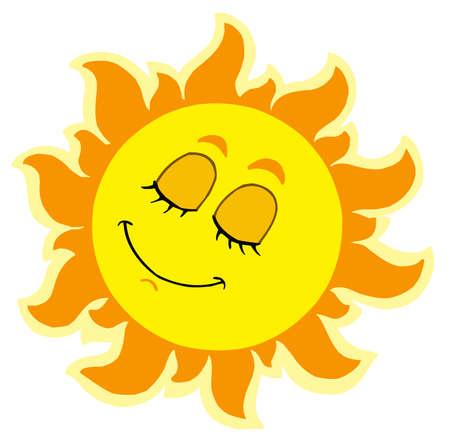asleep: Sleeping Sun on white background - vector illustration. Illustration
