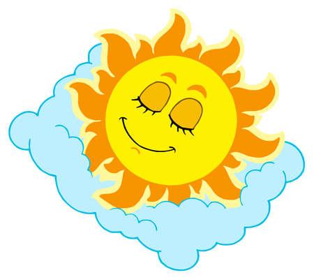 Sleeping Sun on cloudy pillow - vector illustration.