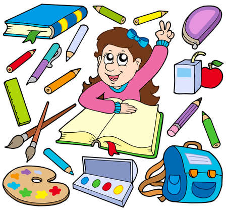 objects equipment: Back to school collection 3 - vector illustration.