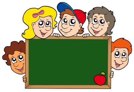 schoolboy: School blackboard with children - vector illustration. Illustration