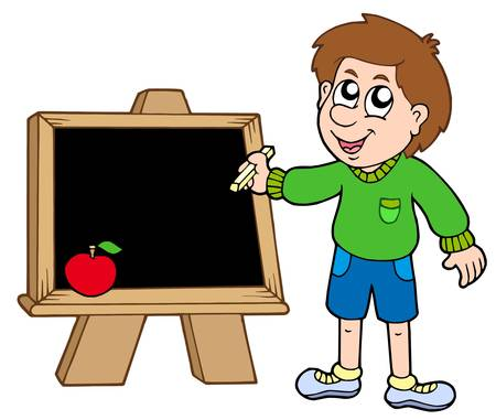School boy writing on blackboard - vector illustration.