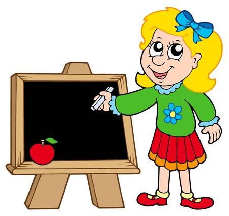 hand writing: School girl writing on blackboard - vector illustration.