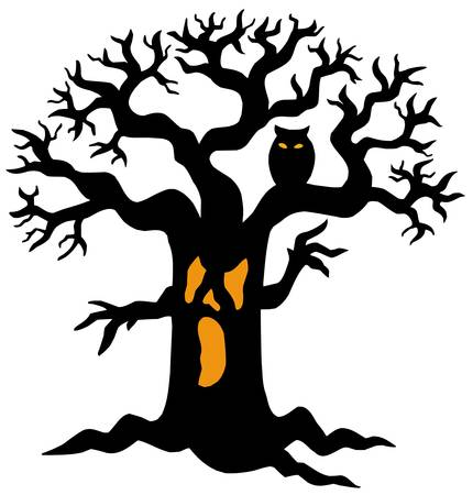 spooky eyes: Spooky tree silhouette - vector illustration.
