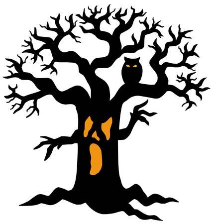 Spooky tree silhouette - vector illustration.