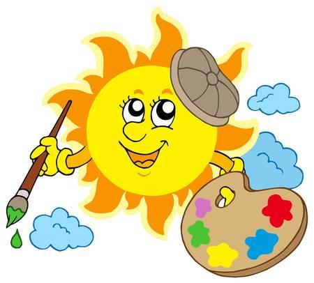 painter palette: Sun artist on white background - vector illustration.