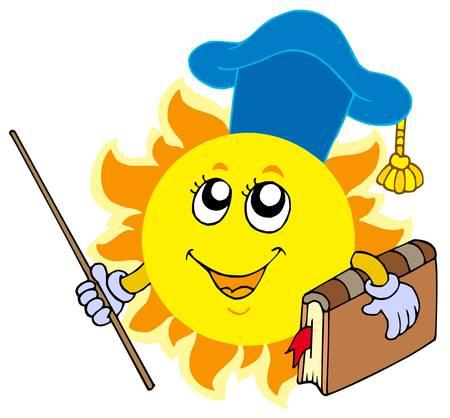 educative: Sun teacher on white background - vector illustration.