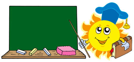 Sun teacher with blackboard - vector illustration. Vector