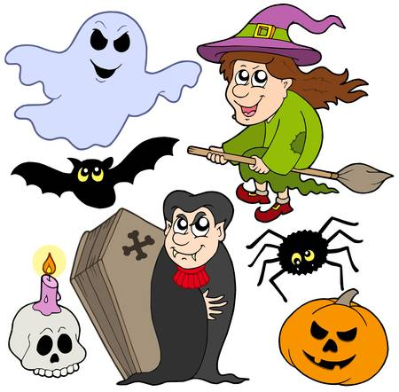flying coffin: Various Halloween images 1 - vector illustration.